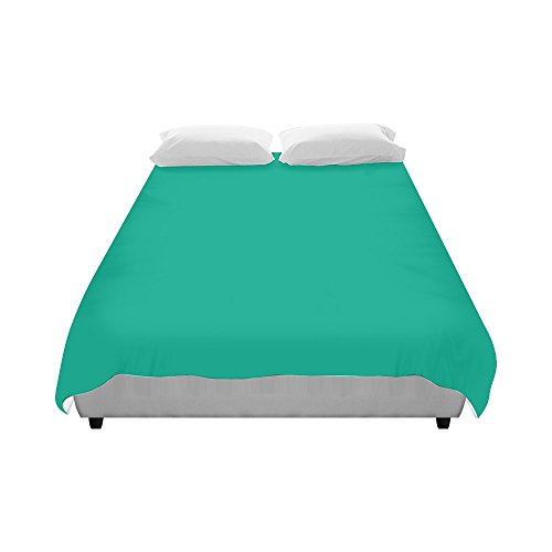 Customize Brushed Fabric Peacock Green Color Accent Fashion Duvet Cover 86
