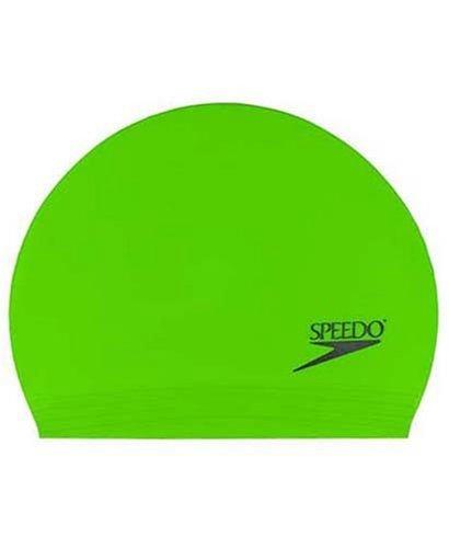 Speedo Latex Solid Swim Cap, Bright Green, One - Swim Size Cap