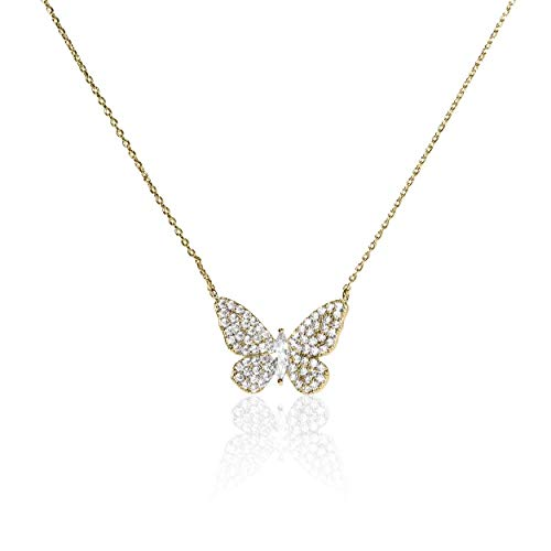 Necklace Swarovski Pave (Evelyn Lozada Women's Signature Butterfly Gold Plated 17