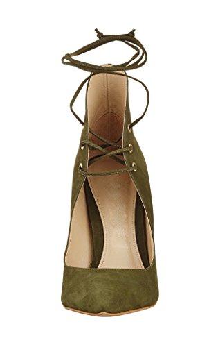 Kolnoo Damen Spitze Zehen Strappy Lace Up Stiletto Heels Pumps Größe Grün