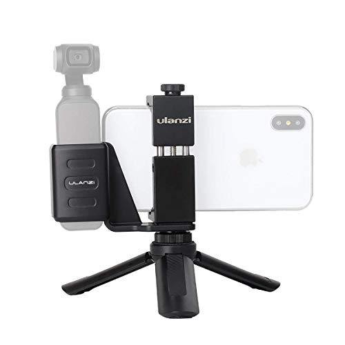 ULANZI OP-1 Osmo Pocket Accessory Mount Phone Holder, Osmo Pocket Mount + Aluminum Phone Holder + Mini Tripod Stand w Cold Shoe Mount Compatible for DJI Osmo Pocket