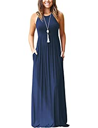 Women's Sleeveless Racerback and Long Sleeve Loose Plain Maxi Dresses Casual Long Dresses with Pockets