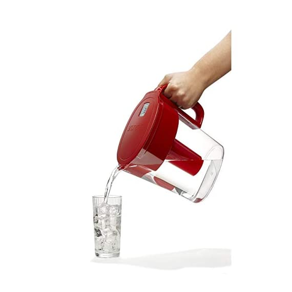 """Brita Small 5 Cup Metro Water Pitcher with Filter - BPA Free 10 SMALL WATER PITCHER: This small, plastic water filtration pitcher is easy to pour and refill. The space efficient pitcher fits perfectly on refrigerator shelves and is great for families. Height 9.8""""; Width 4.45""""; Length/Depth 9.37""""; Weight 1.39 pounds CLEANER AND GREAT TASTING: The BPA free Brita filter reduces chlorine (taste and odor), copper, mercury, zinc and cadmium impurities found in tap water for cleaner great tasting water. *Substances reduced may not be in all users' water FILTER CHANGE REMINDER: For optimum performance, a helpful status indicator on your filtered water pitcher notifies you when your water filter needs to be replaced"""