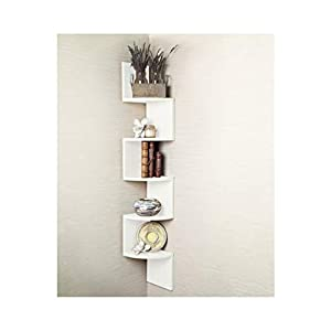 5 Tier Corner Shelf Floating Wall Shelves Storage Display Books Home Decor (White)