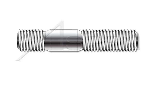 DIN 938 Double-Ended Stud with Plain Center Metric Plain M6-1.0 X 16mm 100 pcs Class 5.8 Steel Screw-in End 1.0 X Diameter