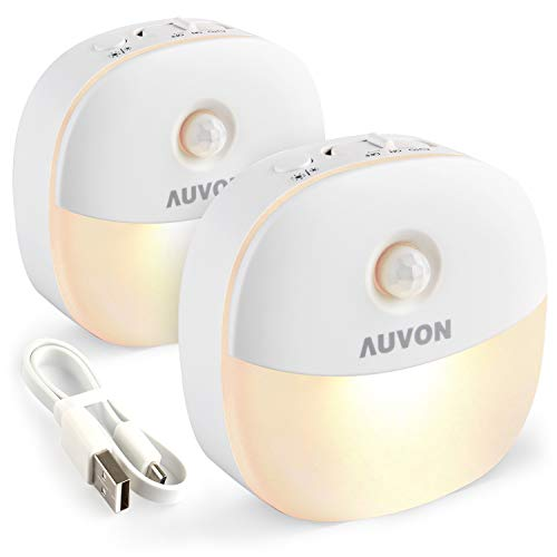 AUVON Rechargeable Motion Sensor Night Light, LED Stick-On Nightlight with Dusk to Dawn Sensor, Motion Sensor (Passive Infrared Technology), Adjustable Brightness for Kids, Moms, The Elderly, 2-Pack