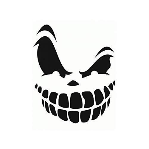 Grinning Skull Pumpkin Halloween Smile Face Decal (13 Sizes and 20 Colors) 048 -