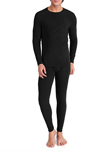David Archy Men's Ultra Soft Winter Warm Base Layer Top & Bottom Fleece Lined Thermal Set Long John(M, Black)
