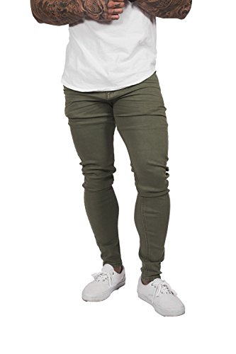 Ease - Mens Designer Stretch Super Skinny Jeans - World's most comfortable Athletic Slim Tailored Tapered fit Pants - Premium Luxury 100% Custom Twill Fabric - Olive (34Wx33L)