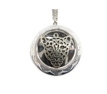 - silver Tiger Face locket necklace, Leopard Face locket pendant, Wild Animal Jewelry, Tiger Head locket charm. Animal Head locket