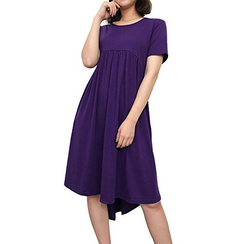 【MOHOLL】 Women's Short Sleeve Pockets Empire Waist Pleated Loose Swing Casual Flare Dress Purple