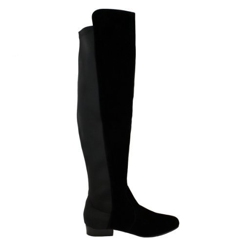 LADIES WOMENS FLAT ELASTICATED WIDE LEG STRETCH OVER THE KNEE HIGH RIDING BOOTS SIZE Black Suede Sf4ChNJ