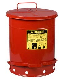Justrite 14 Gallon Red Galvanized Steel Oily Waste Can with Foot Lever Opening Device