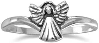 925 Sterling Silver Small Oxidized Angel Ring