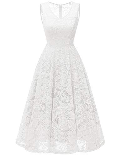 Meetjen Women's Cocktail V-Neck Dress Floral Lace Tea-Length Bridesmaid Party Dress Midi White -