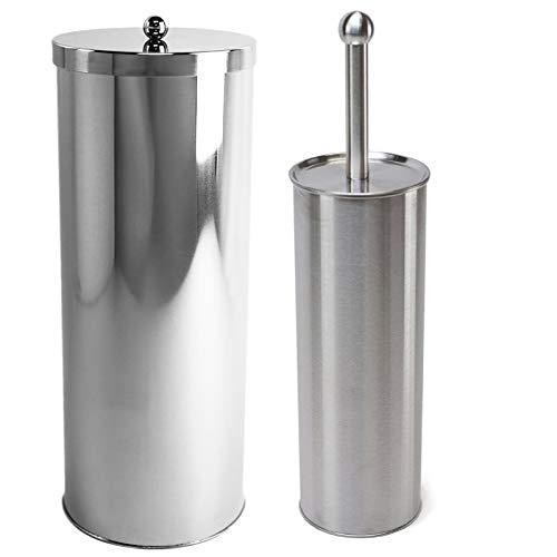(Huji Rust Resistant Stainless Steel Toilet Paper Canister Holder for Bathroom Storage (1, Toilet Paper Canister&Toilet Brush Set))