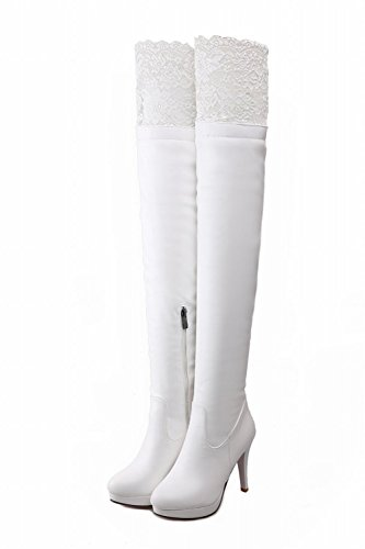 Lolita Cosplay Night Heel Platform High White Tall Elegance Stiletto Club Lace Boots Carolbar Zipper Dress Sexy Womens qtFSwI