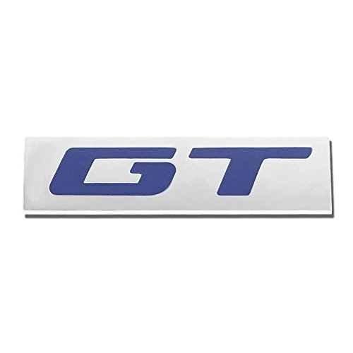 GT Blue/Chrome Aluminum Alloy Auto Trunk Door Fender Bumper Badge Decal Emblem Adhesive Tape ()