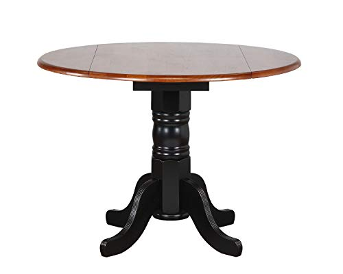 (Sunset Trading DLU-TPD4242-BCH Black Cherry Selections Dining Table, Distressed Antique rub Through)