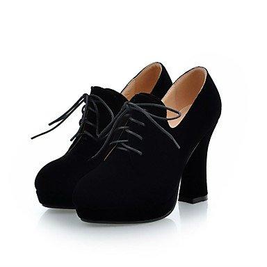 LFNLYX Mujer-Tacón Robusto-Tacones / Botas a la Moda / Punta Redonda-Botas-Oficina y Trabajo / Vestido / Casual-Semicuero-Negro Black