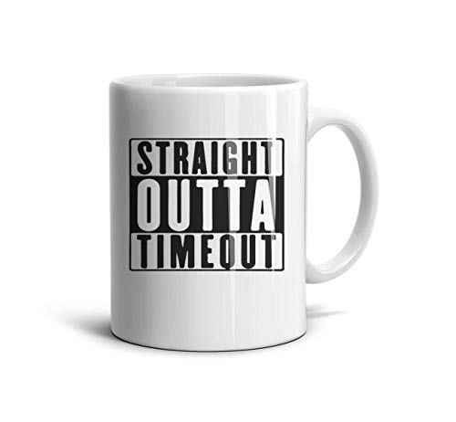 Outta Time T-shirt - Godfer Arabe Funny Coffee Mugs Straight Outta Timeout Novelty Ceramic TeaMugs Shatterproof Cups Festival Gift White