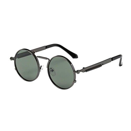 de hombres estilo y redondo retro E mujers inspirado gafas sol círculo Steampunk para metálico Gusspower polarizadas O87q7