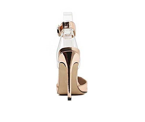 Argent KHSKX Unique cm Boucle Un Fine Hauts Chaussures Sandales Mode 8 Mot Forty Talon Pointu Femmes Shallow Champagne 5 Printemps Talons Chaussures wqfZr4w6B