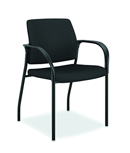 HON Ignition Upholstered Back Chair with Fixed Arms - Multi-Purpose Stacking Chair, Black (HIGS6)