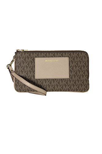 Michael Kors Wristlet Bedford Signature Large Double Zip by Michael Kors