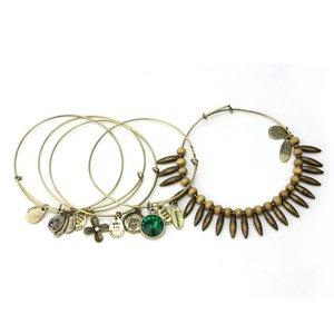 RHX Fashion 5in1 Vintage Flower Bead Multilayer Charm Metal Bangle Lady's Bracelet