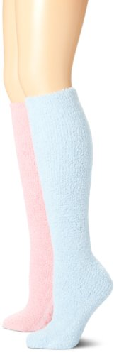- Muk Luks Women's Micro Chenille Knee High Socks 2 Pair Pack-Pastels, Pink/Blue, One Size