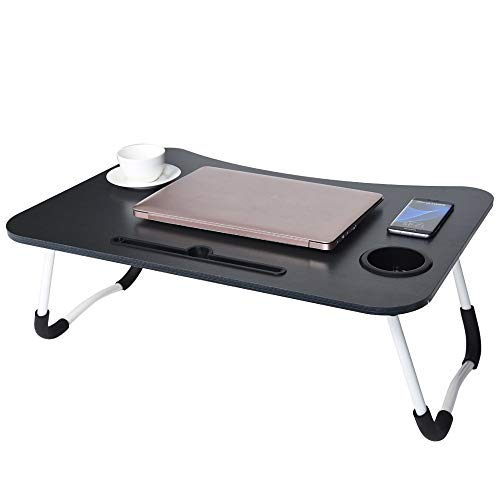 Alalaso Foldable Portable Laptop Stand Bed Lazy Laptop Table Small Desk Breakfast Tray 70x48x28cm Black