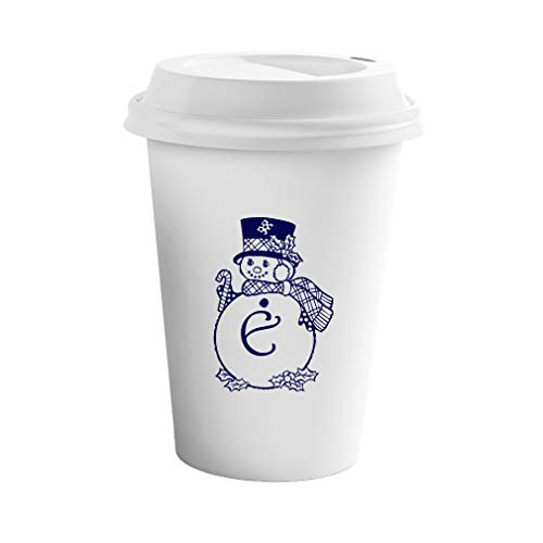 Navy E Snowman Christmas Monogram Letter E Ceramic Coffee Tumbler Travel Mug