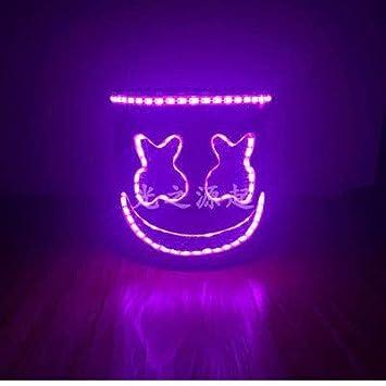 Yukun Máscara Nightclub de Halloween Masquerade Emisión de Voz Máscara Fluorescente DJ Casco Eléctrico Sílaba Atmósfera