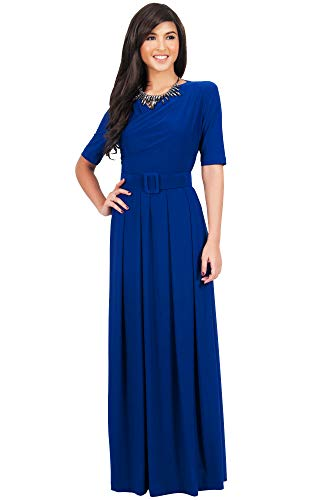 (KOH KOH Womens Long Half Short Sleeve Belt Flowy Wedding Party Elegant Evening Work Formal Casual Modest Floor Length Vintage Gown Gowns Maxi Dress Dresses, Cobalt/Royal Blue M)