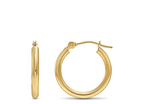 14k Yellow Gold Round Polished Hoop Earrings, 16mm (0.6 inch (Karat Gold Earrings)