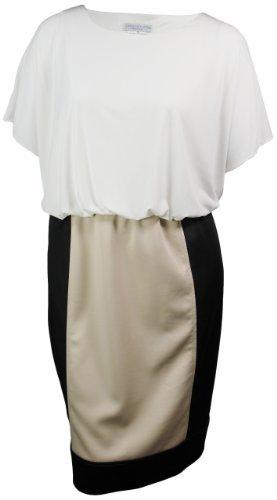London Times Women's Blouson Twofer Jersey (22W, Soft White/Black/Sand)
