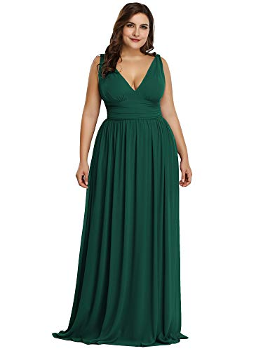 Ever-Pretty Womens Plus Size V-Neck Chiffon Pleated Evening Party Prom Dresses Green US 18