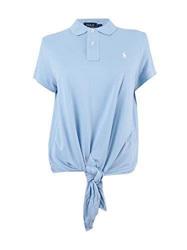 Polo Ralph Lauren Tie-Front Mesh Polo (Naples Blue, S)