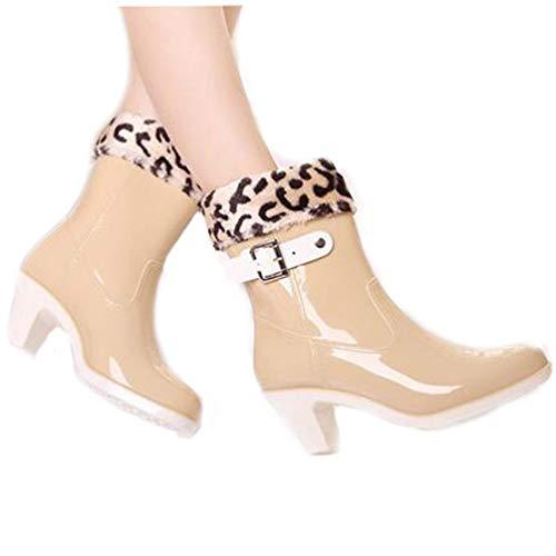 527282c3ec9b DETAWIN Womens Mid-Calf Riding Boots Buckles Mid Heel Round Toe Gloss Low -Height