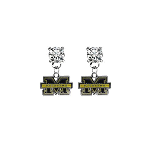 Michigan Wolverines Clear Crystal Stud Post Dangle Earrings