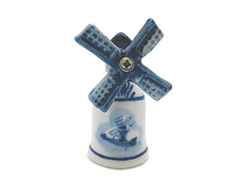 Essence of Europe Gifts E.H.G Collectible Thimble Blue and White Windmill ()