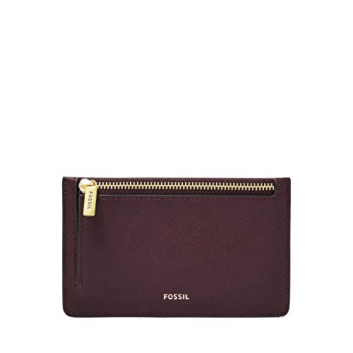 Fossil Women's Logan Leather Zip Card Case Wallet, Fig