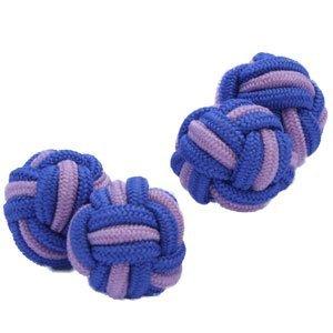 Blue & Pale Pink Silk Knot Cufflinks | Cuffs & Co