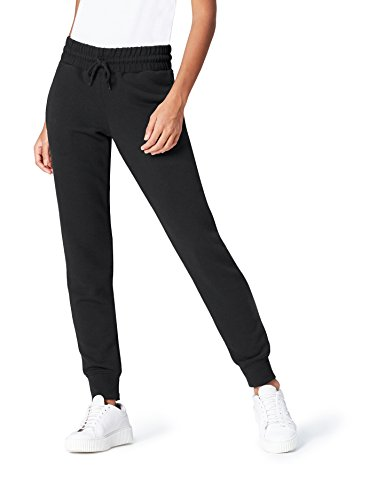 FIND Women's Tracksuit Bottoms with Drawstring Waist and Ribbed Ankles Regular Waist, Black, 14 (Manufacturer Size: (Ribbed Tracksuit)