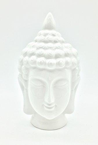 Statue Buddha Head Ceramic (FICITI G311908 White Ceramic Buddha Head Statue)