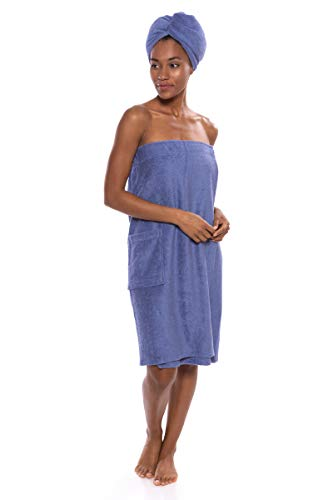 Women's Towel Wrap - Bamboo Viscose Spa Wrap Set by Texere (The Waterfall, Kashmir Blue, 2X/3X) Luxury Body Wrap Towel Sets for Her ()