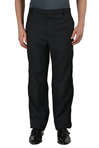 Dolce & Gabbbana Silk Wool Black Flat Front Men's Dress Pants US 40 IT 56