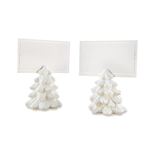 Kate Aspen Pine Tree Place Card Holders (Set of 6) Placecard, White (Card Christmas Holders Place)