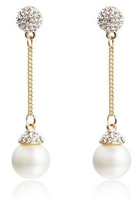 UPC 642014756544, Gorgeous Dangling Pearl Shell Diamond Stud Ear Clip Earrings , Hypoallergenic (WHITE)